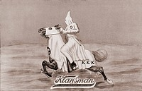 1923 tobacco label for Klansman All_American Cigar Co., Dallas, Texas, showing Klansman on horseback. The second Ku Klux Klan flourished nationwide in...