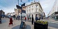 shops and buildings, Aberystwyth town centre, wales UK