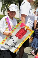Florida, Miami, Hallandale, South Florida Jewish Community, Lag B´omer Jewish Unity Parade & and Fair, Jew, girl, poster, sign, tradition, religious p...