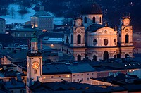 Salzburg churches at dusk  Austria