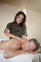 Caucasian man having massage