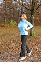 Blonde woman jogging