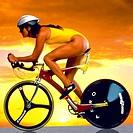 female triathlete cycling
