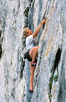 Rockclimber at Les Dentelles de Montmirail in Provence, France
