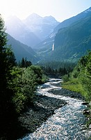 The Kander River flows through Gasterntal near Kandersteg, Switzerland