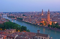 Verona  Santa Anastasia church and Torre dei Lamberti at Dusk  Adige river  Veneto  Italy  Europe.