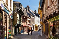 Old medieval street with shops and stores Pontivy, Morbihan, Brittany, France, Europe