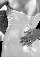 A close up picture of a wedding dress from behind