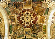 Italy, Tuscany, Siena, painted ceiling, architecture detail,