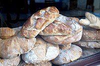 Traditional bread in the market of Santiago de Compostela. Galicia, Spain