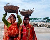 Female stone workers They collect stones from the Dholai river in Bholaganj During monsoon season boulders, rocks, stones and pebbles wash up from Ind...