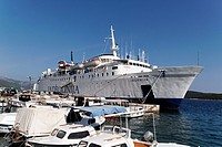 Jadrolinija ferry, most popular way of travel between islands, here by Korcula Island, Croatia