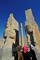 Iran, Shiraz, Persepolis, Ruins, Statue
