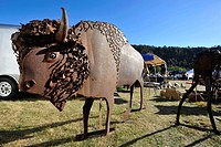 USA, South Dakota, Black Hills National Forest, Custer State Park, Buffalo Roundup, Bison Statue