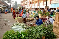 Vegetable market, Chalai, Trivandrum, Kerala, India, Asia