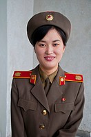 Friendly woman soldier, Pyongyang, North Korea, Asia