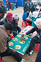 Gambling at a festival in Tsochen, Western Tibet, China, Asia