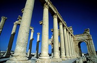 The ruins of Palmyra in the desert Faydat in Syria in the Middle East in Arabia