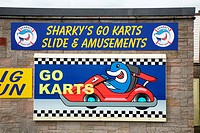 Sign for Sharky's Amusement Park on Mablethorpe seafront