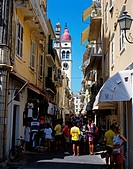 Corfu Town _ The bell tower St Spyridon Church overlooking the narrow streets of the old town