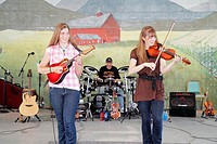 Pennsylvania, Kutztown, Kutztown Folk Festival, Pennsylvania Dutch folklife, music, musician, entertainment, stage, perform, violin, drums, guitar, mu...