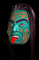 Native Amercian Art Mask by Sean Whonnock featuring the Otter Woman. Just Art Gallery, Port McNeill, Northern Vancouver Island, British Columbia, Cana...