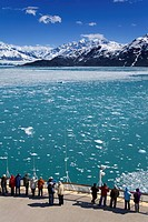Cruise ship near Hubbard Glacier, Yakutat Bay, Gulf of Alaska, Southeast Alaska, United States of America, North America