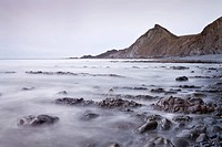 Rocky Beach and St. Catherines Tor, Spekes Mill Mouth, Hartland, Devon, England, United Kingdom, Europe