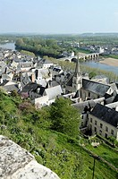 France, Indre-et-Loire, Chinon  Old town viewed from the castle