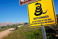 Rattlesnake warning sign at entrance to hiking area, Riverside, California, USA