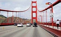 Drivers view of Golden Gate Bridge, San Francisco, California, USA
