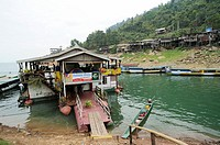 Floating restaurant at NamNgum Hydro, Laos.