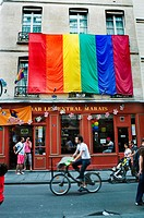 Paris, France, Gay Bar and Hotel, in the Marais, Le Central, Facade with Gay Flag, Street Scene (Closed in 2010)