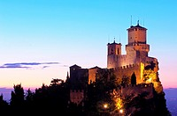 Rocca Guaita tower at dusk, Monte Titano, City of San Marino, Republic of San Marino
