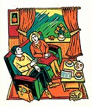 Couple Sitting in Living Room