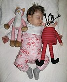 Sleeping Child With Stuffed Doll and Stuffed Animal