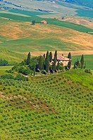 Val d'Orcia, Orcia Valley, Fields and Farmhouses, Tuscany Landscape, UNESCO world heritage site, Siena Province, Tuscany, Italy