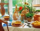 COLLECTIONS _ DISHES: Handmade Terra Cotta pottery creates a nice tablescape, rustic country look. Herb plants and flowers as a centerpiece, vintage w...