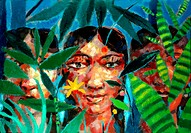 3 Women in Tropical Foliage