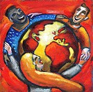 Diverse people with their arms around the earth