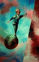Man Balancing on a Wrecking Ball