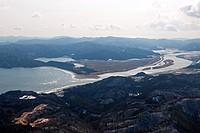 Oppa bay, Kitagamigawa, Kahoku, Ishinomaki, Miyagi, Tohoku, Japan, aerial