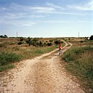 A girl riding a bicycle on a country road, Oland, Sweden.