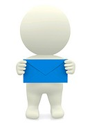 3D person holding envelope
