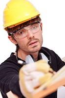 worker making notice