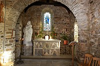 Interior of the Chapel of Our Lady and St Non, near St Davids, Pembrokeshire, Wales, UK