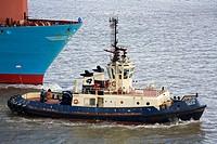 Tugboat & ship in the Thames River, Port of Tilbury, Essex, England, United Kingdom, Europe