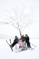 Portrait of a skiing family, Sweden.