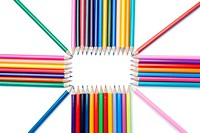 Top view of color pencils shape on a white background