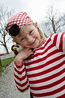 Girl dressed up as a pirate, Sweden.